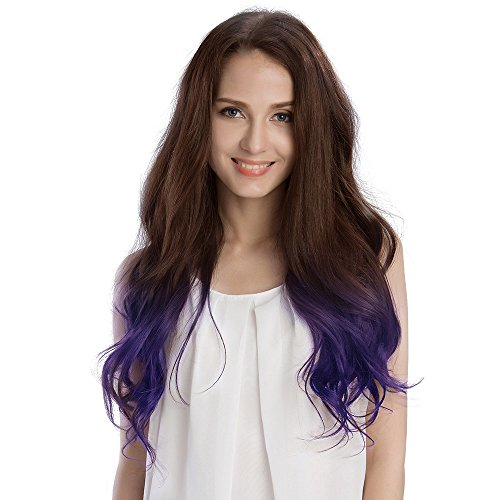 KINGHAIR Ombre#4/Violet Clip In Remy Hair Extensions - 20 Inches - 170G Full Head Set