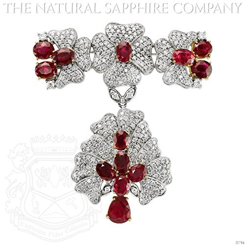 18k White & Yellow Gold Brooch with 13.50cts Rubies and 6.00ctw Diamonds (J3794) - Diamond Ruby Sapphire Brooch
