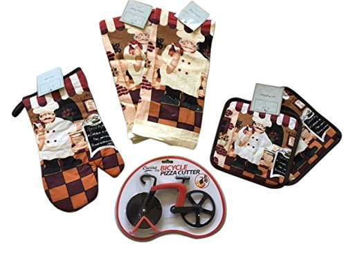 Fat Chef Kitchen Towels, Pot Holders, Oven Mitt and Bicycle Pizza Cutter 6 Piece Bundle - Chef Theme Kitchen Decor