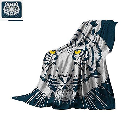 Tiger Lightweight Blanket Aggressive Depiction of a Giant Furry Feline Majestic Animal Mascot of Asia Velvet Plush Throw Blanket 90
