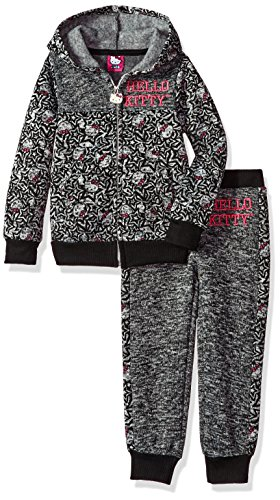 Hello Kitty Little Girls' 2 Piece Hooded Fleece Active Set, Charcoal, 6