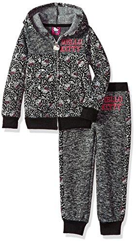 Hello Kitty Little Girls' 2 Piece Hooded Fleece Active Set, Charcoal, 6X