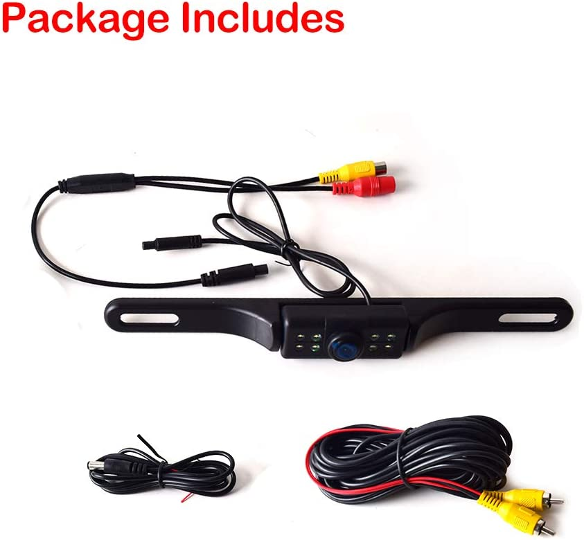 Car Backup Camera License Plate Mount Multifunctional Front//Rear View PAL//NTSC Grid Lines ON//Off Button Switch 7 LED Automatic Night Vision Style DC 12-24V 170 Degree