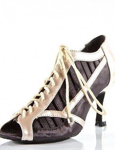 ShangYi Praxis Schuhe Frauen Fersen Pfennigabsatz Satin-ups Tanzschuhe (weitere Farben) black-us8/eu39/uk6/cn39...