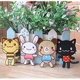 超キュート 子供さんも大喜び かわいい アップリケ ワッペン トラネコ 黒ネコ クマ ウサギ 4枚セット