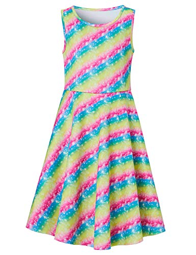 Goodstoworld Summer Dresses for Girls Sleeveless Rainbow Twirl Dress 11t 12t Flare Pleated A-line T-Shirt Midi Dress Summer Clothing 10-13 Years]()