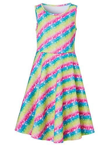 (Goodstoworld Summer Dresses for Girls Sleeveless Rainbow Twirl Dress 11t 12t Flare Pleated A-line T-Shirt Midi Dress Summer Clothing 10-13 Years)