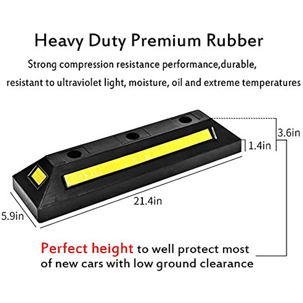Professional Grade Rubber Parking Target B BAIJIAWEI 2 Pack Heavy Duty Rubber Parking Guide Garage Wheel Stop with Yellow Reflective Stripes