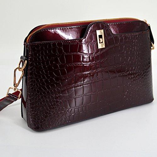 Leather Red Cross Zipper Patent LA Alligator Clutch Shoulder Pattern Wine Handbag body Red Bag Shiny HAUTE Wine Bag TUFxwq8t