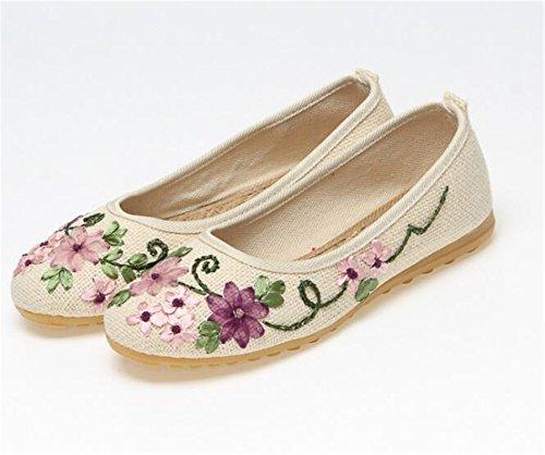 Kenavinca Shoes Feminino Ballerina On Fabric White Flat Embroidered Flats Cotton Women 515 Vintage Peking Flower Sapato Old 6 Beige Comfortable Slip Linen rxYnqTwrZC