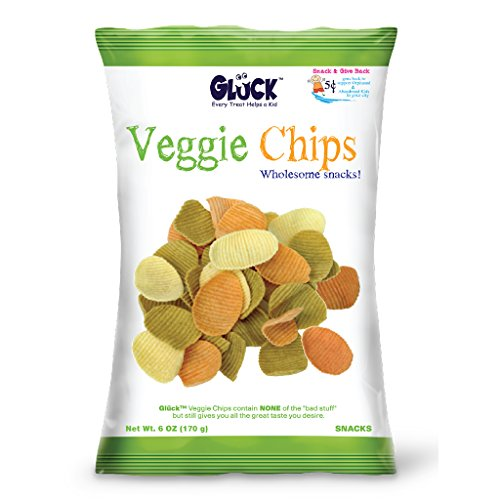 Gluck Veggie Chips 6oz Family Pack (Case with 8 Bags) by Gluck Veggie Snacks