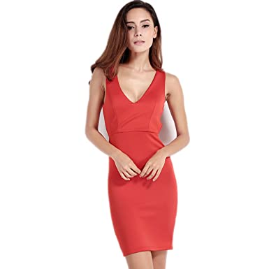 8ee4552445b7 WeHeart Womens Red Backless Sleeveless Bodycon Dress at Amazon ...