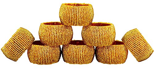 ShalinIndia Napkin Ring Pack of 8 Christmas Table Decoration Ideas - Glass Beaded Decorative Round Gold Textured Napkin Tissue Holder for Party -
