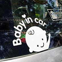 Elevin(TM) Baby In Car Waving Baby on Board Safety Sign Car Truck SUV Window Bumper Decal Sticker for Any Place,Laptop,Wall Sticker.
