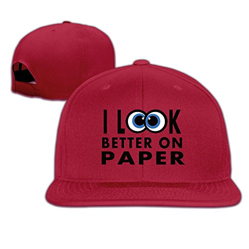 BASEE Big Silly Eyes Funny Words Adjustable Flat Along Baseball Cap Red ()