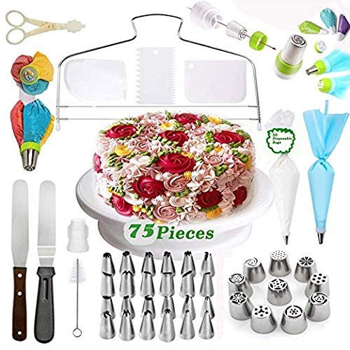 Cake decorating supplies - Cupcake Decorating kit | Baking Supplies |Cake Rotating Turntable, Icing Nozzles & Russian Piping Tips,Frosting Disposable Piping Bags, 3-Color Coupler,Cake leveler | 75 Pcs