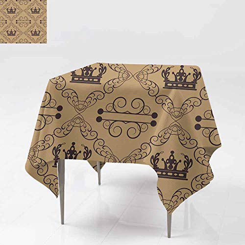 (Fbdace Spillproof Tablecloth,Damask Decorative Wallpaper for Walls Resistant/Spill-Proof/Waterproof Table Cover 70x70 Inch)