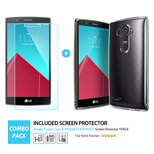 Ringke [Fusion] Compatible with LG G4 Case Crystal Clear PC Back TPU Bumper with Screen Protector [Drop Protection, Shock Absorption Technology][Attached Dust Cap] for LG G4 - Smoke Black by Ringke (Image #2)