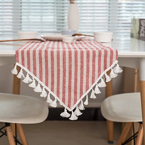 (ColorBird Tassel Table Runner Striped Cotton Linen Runners for Kitchen Dining Living Room Table Linen Decor (12 x 70 Inch, Red) )