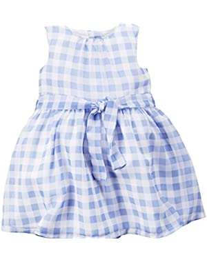 Check Dress, Blue/White