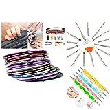 Insten 5Pcs 2way Dotting Pen Marbleizing Tool + 15pcs Nail Art Design Brush Set + 30Pcs Glitter Striping Tape Line Sticker Kit Set