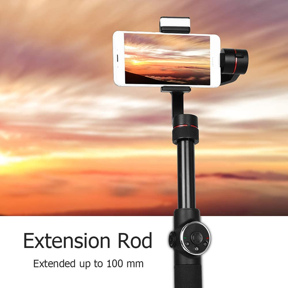 Panorama Compatible with iPhone Huawei Smartphone Within 6.0 up Stable Face Object Tracking Samsung HUATINGRHPM Intelligent 3-Axis Gimbal Stabilizer with 10CM Extension Bar Time-Lapse