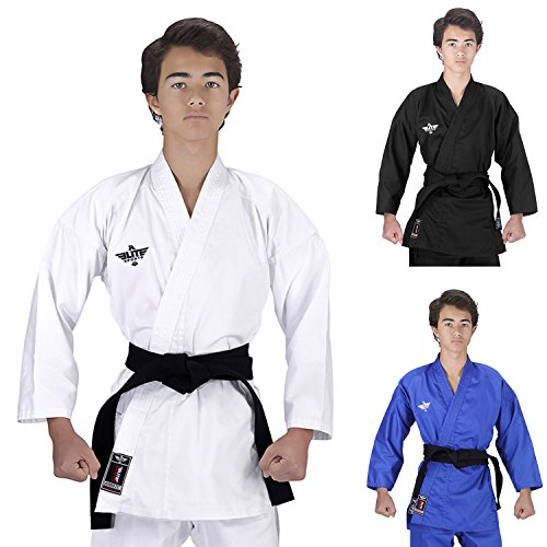 Elite Sports NEW ITEM Kids Karate Kihon, Kata, Kumite Student Uniform Gi w/Preshrunk Fabric & Free Belt (White, 00)