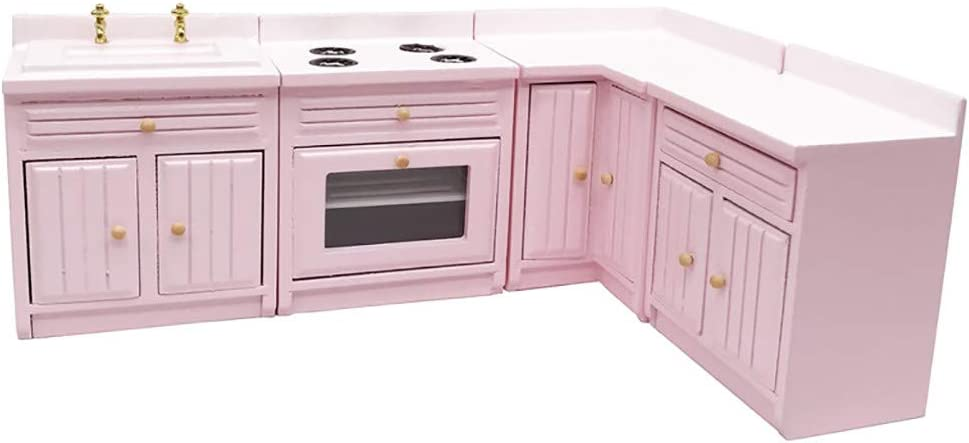 SXFSE Dollhouse Decoration Accessories,1:12 Dollhouse Miniature Furniture Wooden Kitchen Cabinet Set Freely Combined