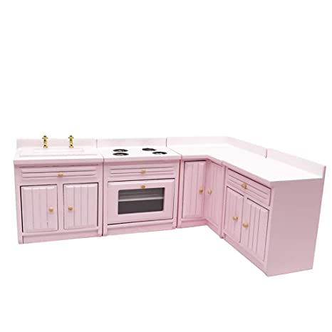 Amazon.com: Miniature Dollhouse Kitchen Cabinets 1:12 ...