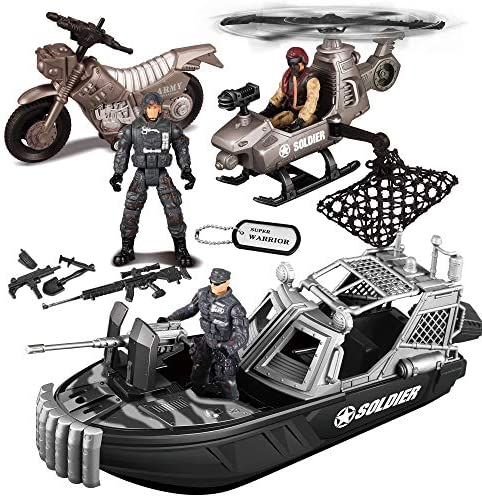 JOYIN 9 Pcs Combat Boat as well as additionally Military Vehicle Toys Set with Realistic Military Combat Boat, Mini Helicopter, Motorcycle, Army Men Toy Soldiers Action Figures as well as additionally Other Equipment Accessories