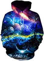 Asylvain Unisex Graphic Hoodies 3D Cool Design Print Colorful Hooded Sweatshirt for Men and Women