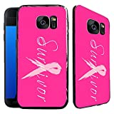 [TeleSkins] - Samsung Galaxy S7 EDGE Electroplated Shiny Soft TPU Case - Survivor Breast Cancer - Ultra Durable Soft, Slim Fit, Protective Silicone TPU Snap On Back Case / Cover. (Fits S7 EDGE only)