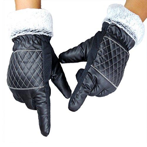 Meanhoo Winter Gloves Non-Slip Gel Pad Gloves Men's Women's Sportswear Bicycle Riding Short Gloves Gloves with zipper for Skiing Full Finger Gloves - Black (1Pair)