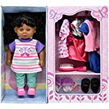 Doll With Clothes Set, Baby Doll with 4 Complete Outfits and Accessories, Hair Brush, Shoes, Slippers