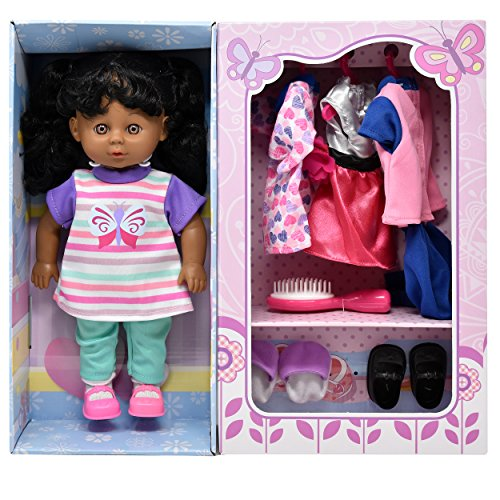 Higher Practice Book - Doll With Clothes Set, Baby Doll with 4 Complete Outfits and Accessories, Hair Brush, Shoes, Slippers