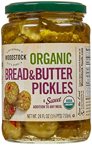 Organic Sweet Pickle - Woodstock Farms Organic Pickles - Sweet Bread And Butter - 24 Ounces