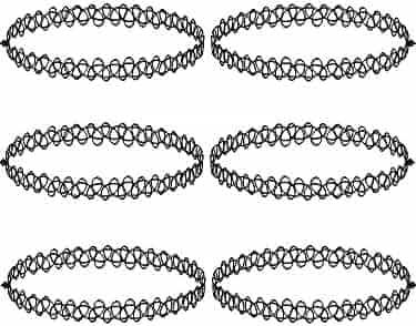 Mudder 6 Pieces Black Tattoo Choker Necklace Stretch Gothic Tattoo Henna Elastic Choker Necklace Set