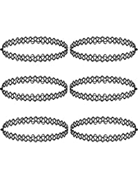 6 Pieces Black Tattoo Choker Necklace Stretch Gothic Tattoo Henna Elastic Choker  Necklace Set 922d39841b37