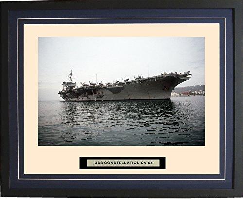 - Navy Emporium - USS Constellation CV-64 - Framed - Photo - Engraved Ship Name - Double Mat - Photograph - 16 X 20 - 155CV64Blue