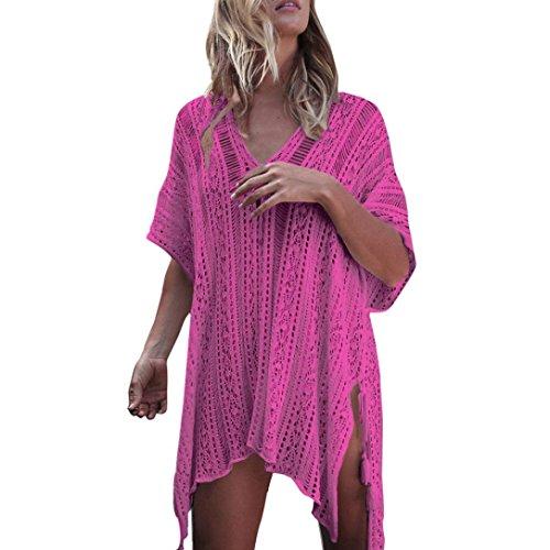 Bikini Cover Up,Boomboom 2018 Casual Women Bathing Cover Ups Dress Loose Girls Bikini Swimsuit Crochet Smock Cover Ups (Hot Pink)