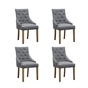 buy popular e1edc 6cddf BOJU Kitchen Modern Dining Chairs 4 with Armrests Grey Fabric Upholstered  Chairs Wood Legs Chairs for Restaurant Lounge Grey x4