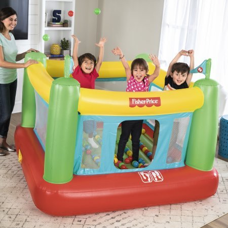 Fisher-Price 69'' x 68'' x 53'' Bouncer with Built-in Pump and 50 Playballs