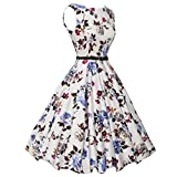 Hunzed Women Dress, Fashion { Vintage Bodycon Dress } Casual { Floral Sleeveless Dress } Lady { Prom Swing Party Dress } (White, XL)