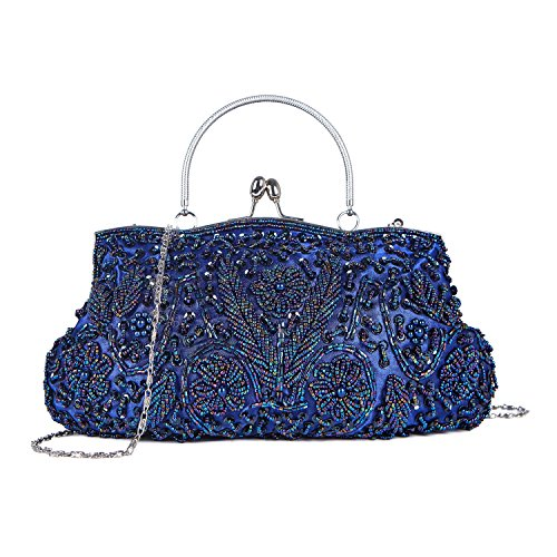 Beaded Vintage Clutch - Kisschic Vintage Beaded Sequin Design Clutch Purse Evening Bag (Navy Blue)