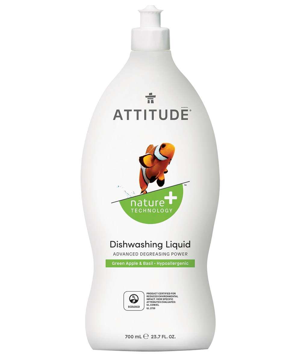 ATTITUDE Dishwashing Liquid, Non-toxic, Biodegradable, Highly Efficient, Sweet Apple & Basil, 23.7 Fluid Ounce
