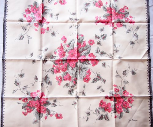 Free Shipping - Beautiful Jim Thompson 100% Square Thai Silk - 32 Inch X 32 Inch Scraf / Shawl / Stole / Tablecloth / Home Decoration - Pink Flora Bouquet by Jim Thompson