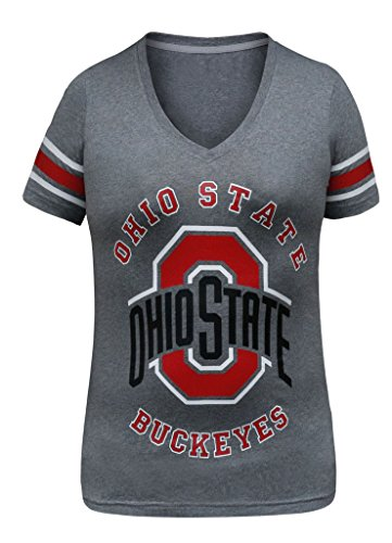 Women's Ohio State Buckeyes V Neck Sporty Vintage Shirts Tops - Grey (Size: L) (Ohio Machine)