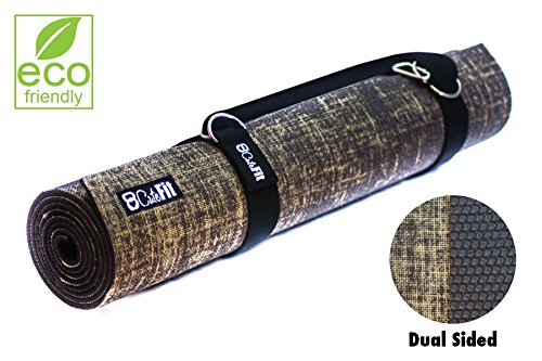 "Natural Yoga Mat Premium Exercise Quality 5mm Thick – By CuteFit – We Use Non-Toxic Organic Natural Jute for a Natural Feel with Grip Padding Underneath Extra Long 72"" With Carrying Strap For Sale"
