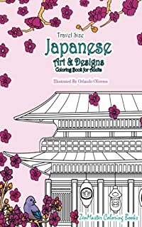 Japanese Artwork And Designs Coloring Book For Adults Travel Edition Size