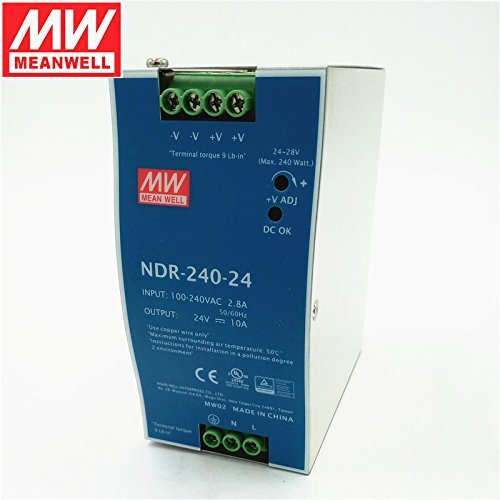 MEAN WELL NDR-240-24 Single Output 240W 24V 10A Industrial DIN Rail Mounted Meanwell Power Supply by MEAN WELL